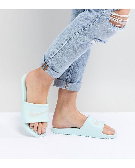 Nike - Gray Kawa Sliders In Mint Green - Lyst