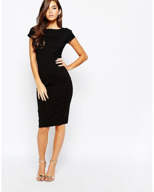 Closet | Black Closet Pencil Dress With Ruched Cap Sleeve | Lyst