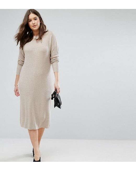 ASOS | Natural Eco Knitted Dress In Super Soft Yarn | Lyst