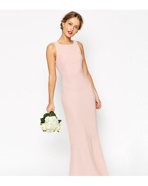 ASOS | Pink Wedding Maxi Dress With Fishtail | Lyst