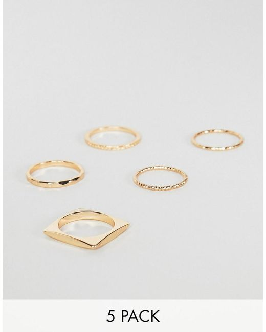 ASOS - Metallic Pack Of 5 Rings In Engraved And Cut Out Square Design In Gold - Lyst