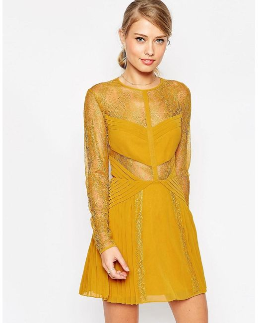 ASOS   Yellow Lace And Pleat Detail Mini Dress   Lyst