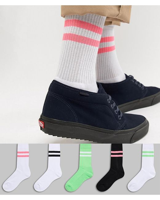 ASOS - Sport Style Socks With Neon Green & Bright Pink Highlights 5 Pack for Men - Lyst
