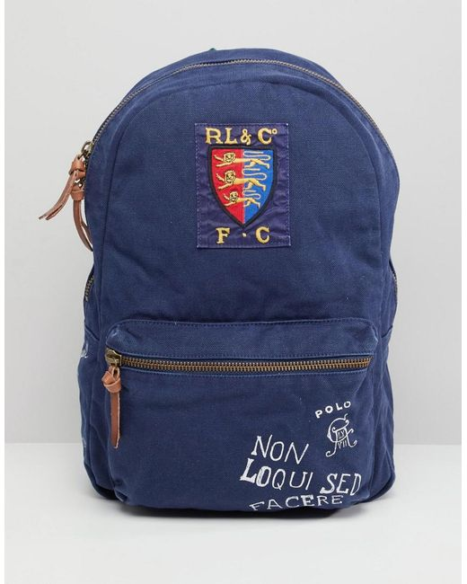 Polo Ralph Lauren Men s Canvas Logo Backpack in Blue for Men - Save ... d32c0d3cb89bc