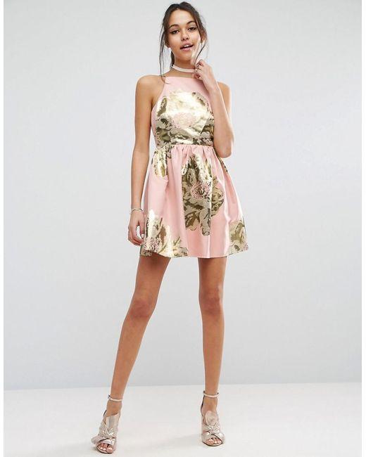 Lyst - Asos Pinny Jacquard Mini Prom Dress in Pink