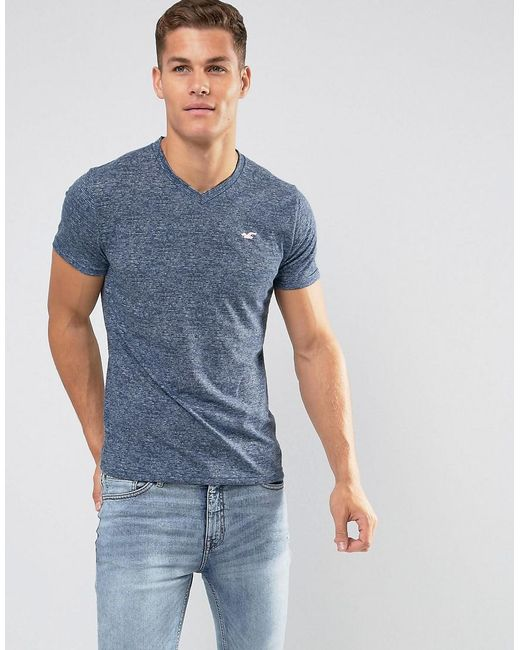 hollister v neck t shirt slim fit icon logo in navy marl in blue for men lyst. Black Bedroom Furniture Sets. Home Design Ideas