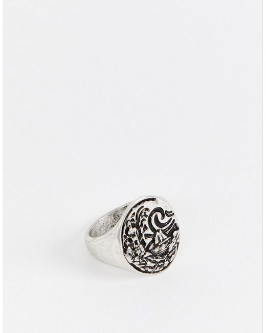 ASOS - Metallic Chunky Nautical Ring With Emboss In Burnished Silver Tone for Men - Lyst