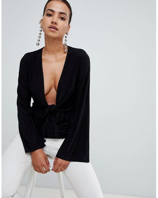 Club L - Black Long Sleeve Tie Front Plunge Top - Lyst