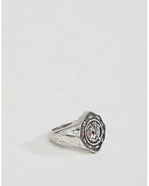 ASOS - Metallic Ring With Crest In Burnished Silver Tone for Men - Lyst