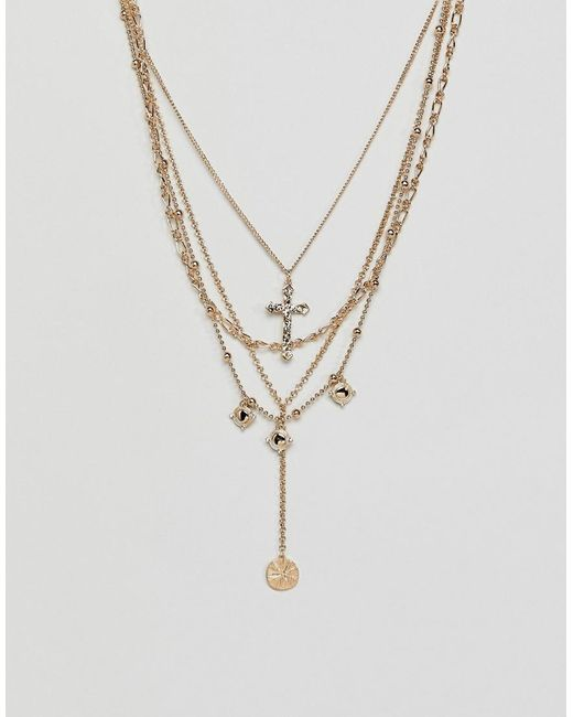 ASOS - Metallic Multirow Necklace With Vintage Style Cross And Coin Pendants In Gold - Lyst