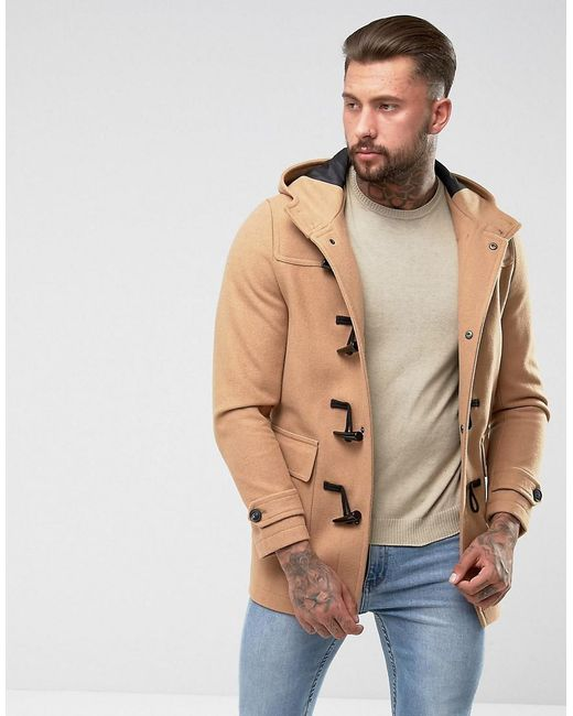 ASOS | Multicolor Wool Mix Duffle Coat In Camel for Men | Lyst