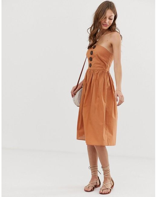 0a5db8de4fa2 ASOS - Brown Bandeau Midi Sundress With Coconut Buttons - Lyst ...