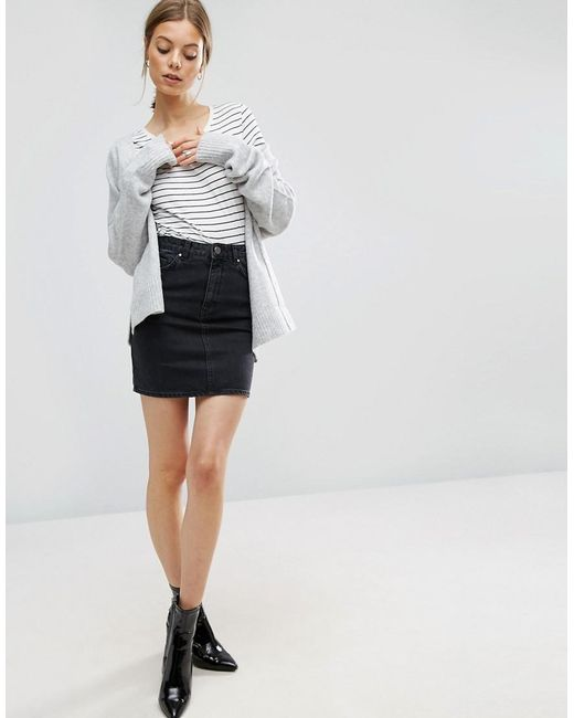 8af65b4fb Lyst - ASOS Denim Original High Waisted Skirt In Washed Black in Black