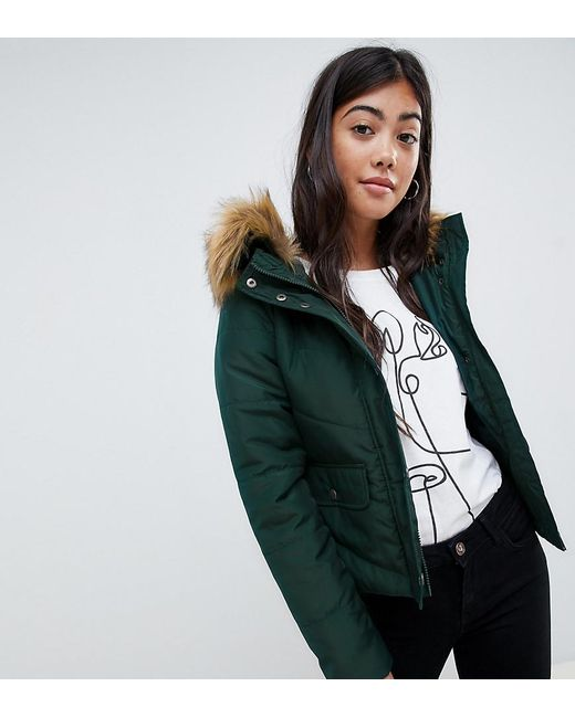 Noisy May Petite - Green Faux Fur Padded Parka - Lyst