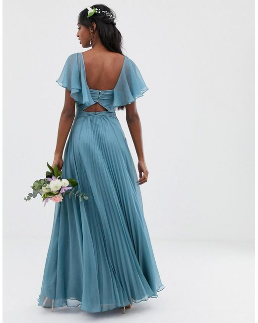 b193b9df493 ... ASOS - Blue Bridesmaid Pleated Bodice Maxi Dress With Flutter Sleeve -  Lyst