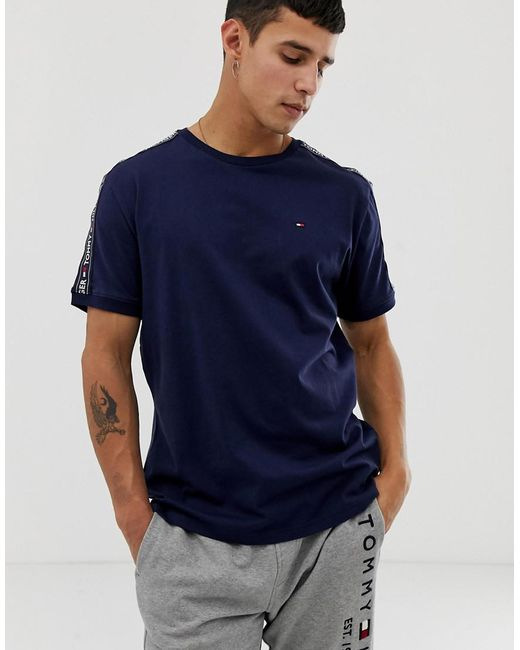 beb18d2e50c1 Tommy Hilfiger - Blue Authentic T-shirt Side Logo Taping In Navy for Men ...