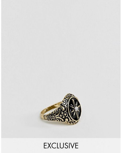 Reclaimed (vintage) - Metallic Inspired Ring With Compass Design In Gold Exclusive At Asos for Men - Lyst