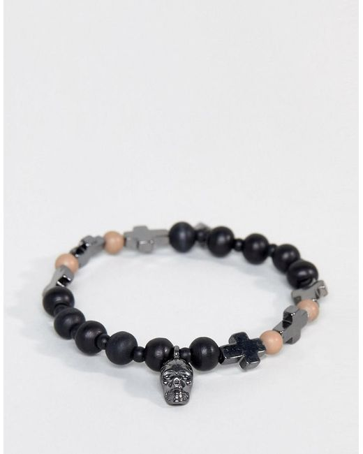 Icon Brand - Skull & Cross Bracelet In Black for Men - Lyst