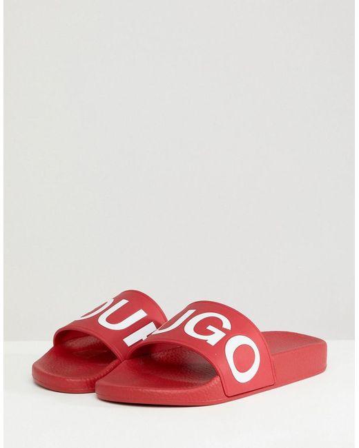 HUGO - Logo Sliders In Red - Lyst