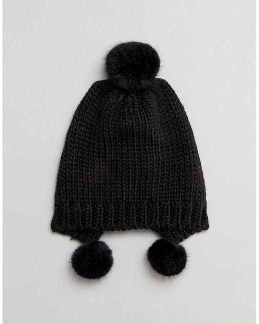Triple Pom Tuque En Noir - Le Code Urbain Noir iCwW5Z