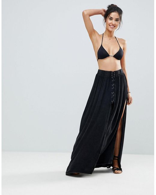 Surf Gypsy - Black Lace Up Beach Maxi Skirt - Lyst