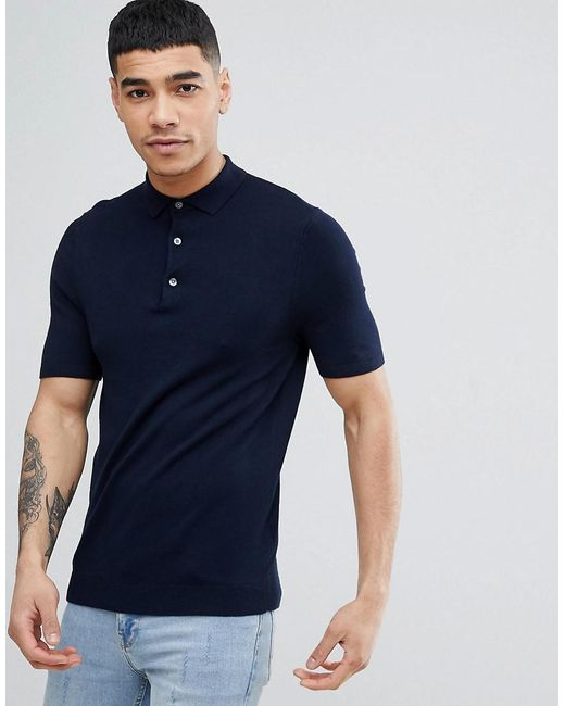 New Look - Blue Muscle Fit Polo Shirt In Navy for Men - Lyst