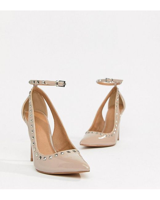 ASOS - Natural Persuade Studded Pointed High Heels - Lyst