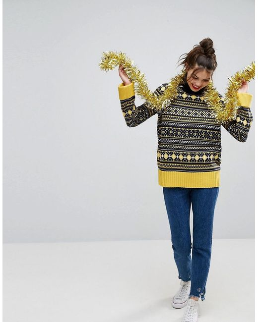 Lyst - Asos Christmas Jumper With Vintage Fairisle With Roll Neck