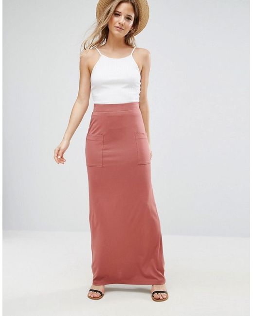 ASOS | Pink Jersey Maxi Skirt With Pockets | Lyst