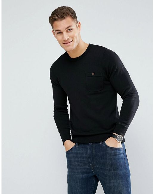 Ben Sherman | Black Long Sleeve Pocket Knit Jumper for Men | Lyst