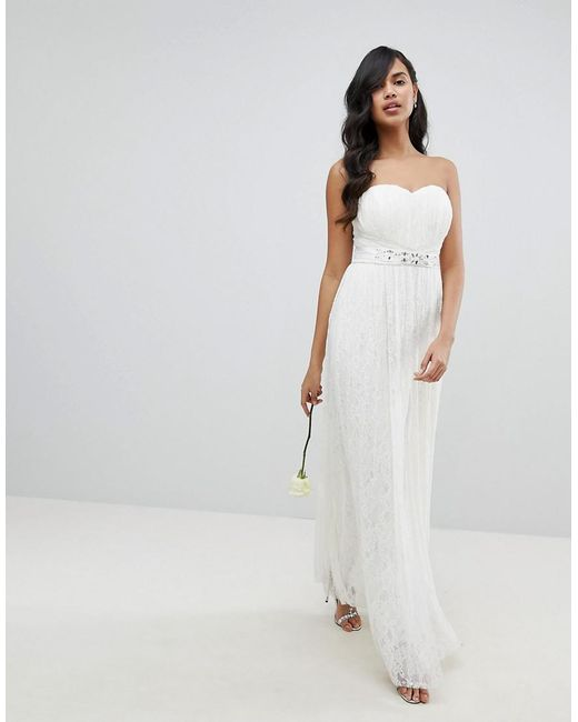 Lipsy Bridal Multiway Allover Lace Maxi Dress With Sash Belt in ...