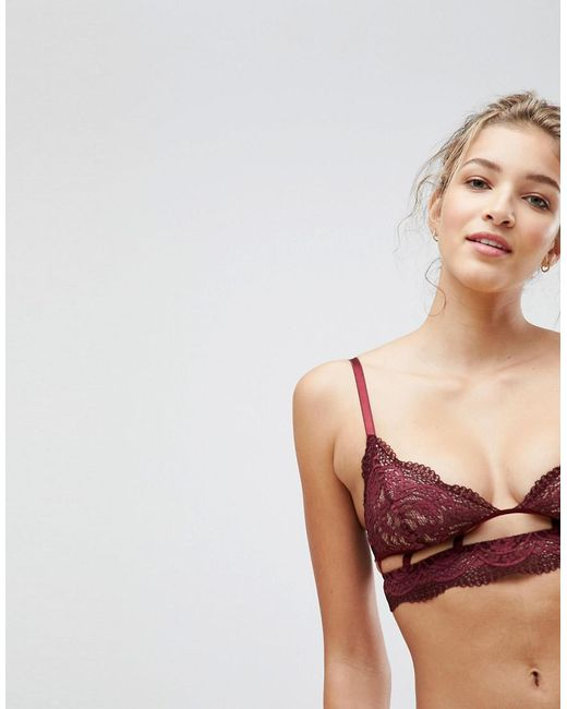 ASOS - Red Asos Violet Geo Lace Triangle Bra - Lyst