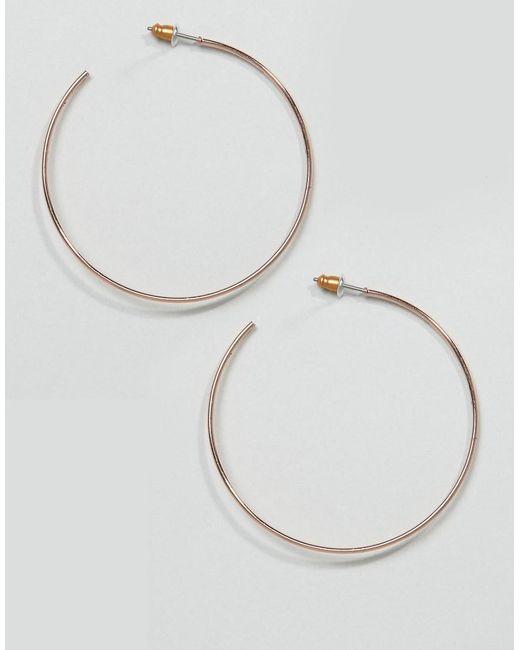 ASOS - Metallic Design Hoop Earrings In 50mm Fine Wire Design In Rose Gold - Lyst