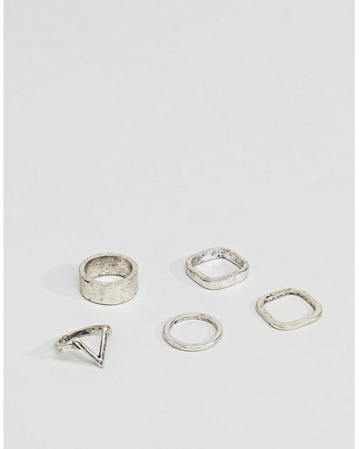 Bershka | Metallic Ring 5-pack In Silver for Men | Lyst
