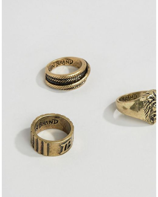 Icon Brand | Metallic Lion Burnished Gold Rings In 3 Pack for Men | Lyst
