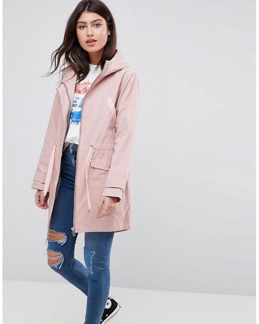 ASOS - Pink Summer Parka With Jersey Lining - Lyst