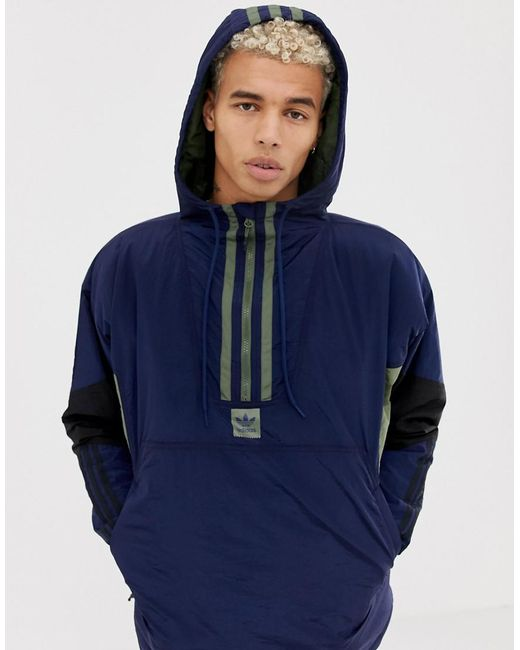 Adidas Originals - Blue Half-zip Puffer Jacket In Navy Dh6647 for Men - Lyst