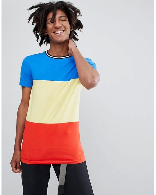 73495933 ASOS - Blue Muscle Fit T-shirt In Primary Colour Block And Monochrome  Tipping for ...
