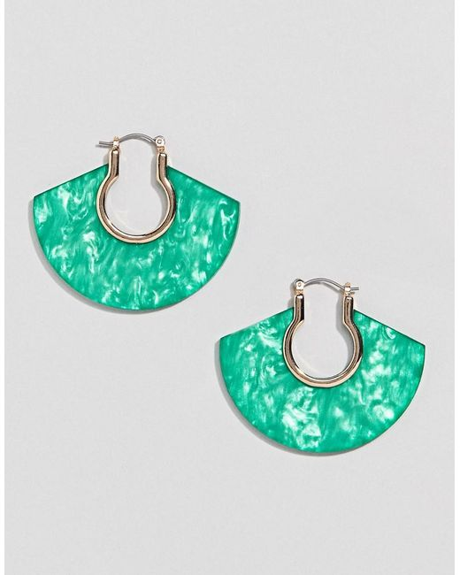 ASOS - Metallic Hoop Earrings With Resin - Lyst