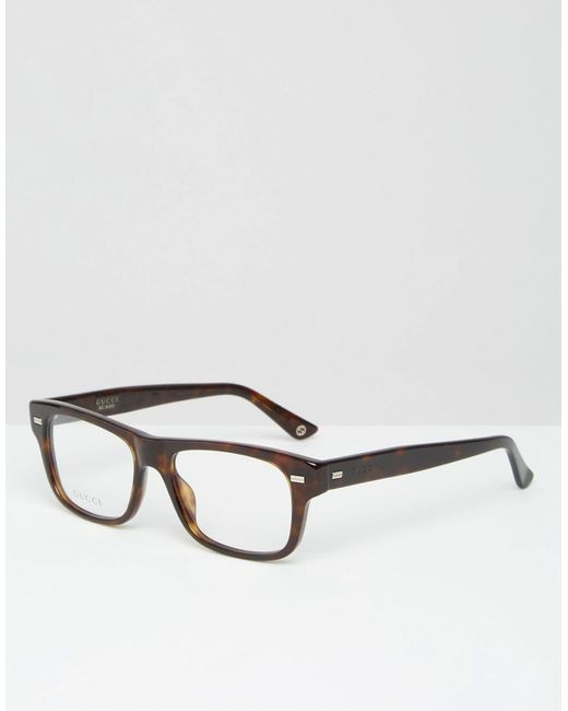 27de228fe1d Gucci Square Clear Lens Glasses In Tort in Brown for Men - Save 38%