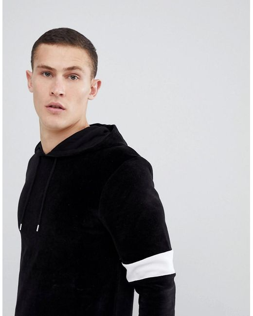 ASOS - Muscle Hoodie In Black Velour With Color Blocking for Men - Lyst