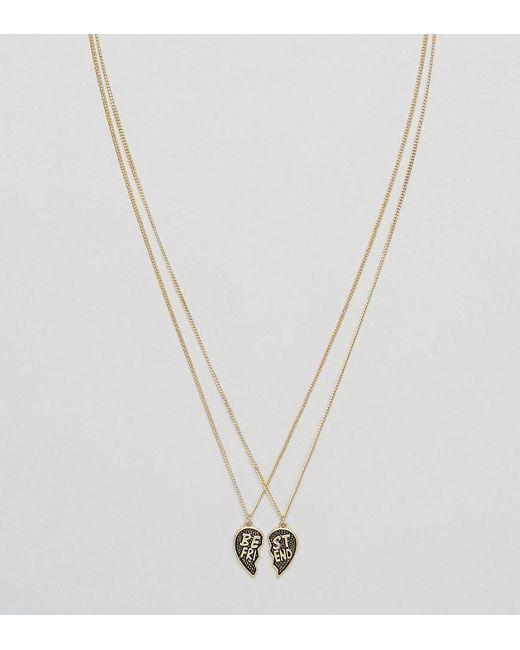 Monki | Metallic Best Friend Necklace | Lyst