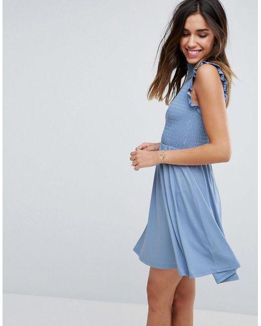 ASOS   Blue Mini Skater Dress With Shirring Panel   Lyst