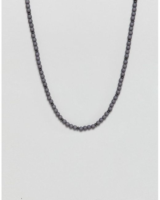 Icon Brand - Gray Grey Beaded Necklace for Men - Lyst