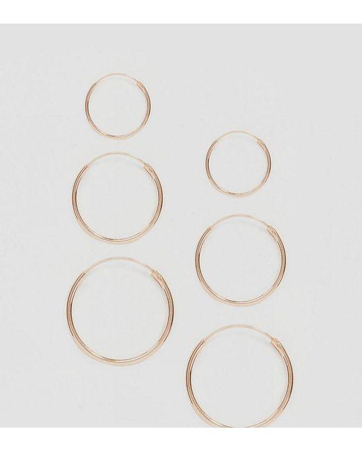 ASOS - Metallic Rose Gold Plated Sterling Silver Pack Of 3 Hoop Earrings - Lyst