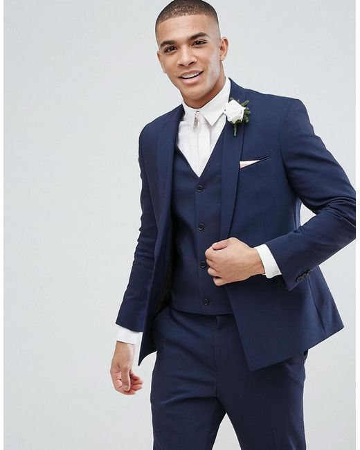 Lyst - Asos Wedding Skinny Suit Jacket With Square Hem In Navy in ...