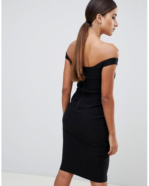 c164f2fa4ffe ... Vesper - Lace Underlay Bardot Bodycon Midi Dress In Black - Lyst. Visit  ASOS