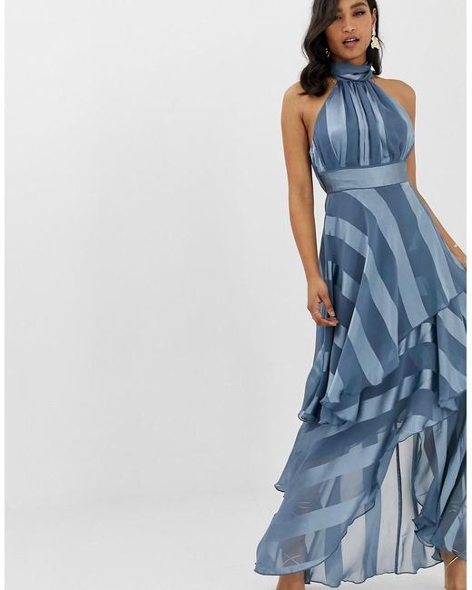 13c142f4eb43a ASOS - Blue High Neck Tiered Maxi Dress In Sheer And Solid Stripe - Lyst ...
