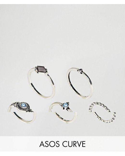 ASOS   Metallic Pack Of 5 Engraved Mini Stone Rings   Lyst