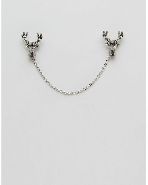 Noose And Monkey | Metallic Stag Collar Tips & Chain In Silver for Men | Lyst